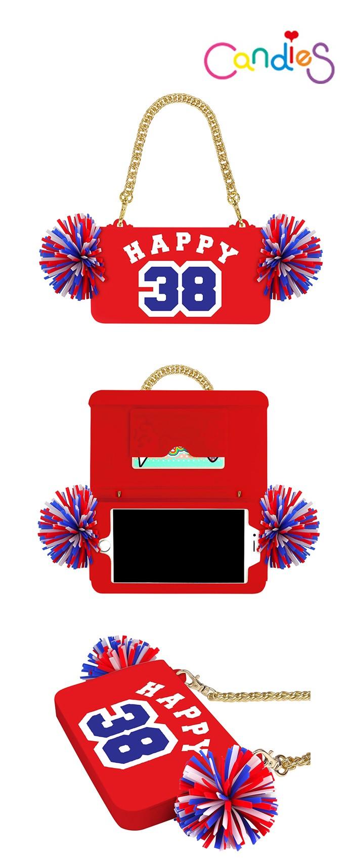 以啦啦隊為設計概念結合晚宴包&手機殼2WAY用途,款式實在太可愛了!旁邊的毛毛球是提升甜美感的POINT喔!(品牌Candies)