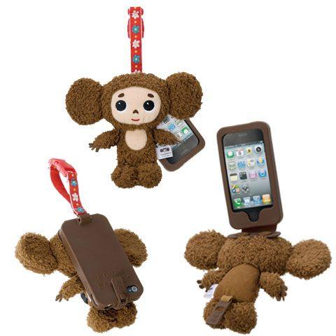 俄羅斯插畫作品大耳查布的立體布娃娃手機殼,可以當背蓋也能擦拭螢幕♬ 不說還以為是可愛的吊飾呢!(品牌大耳查布)