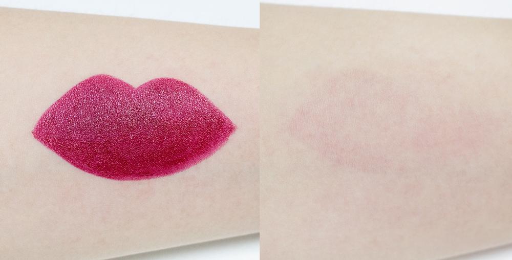 淺酒紅色的產品. 以Holiyday特輯而推出的產品, 塗在嘴唇上的時候剛好因為體溫而融化,所以塗起來非常保濕. 因為顏色當然會有一些著色,但嘴唇不會脫皮喲!