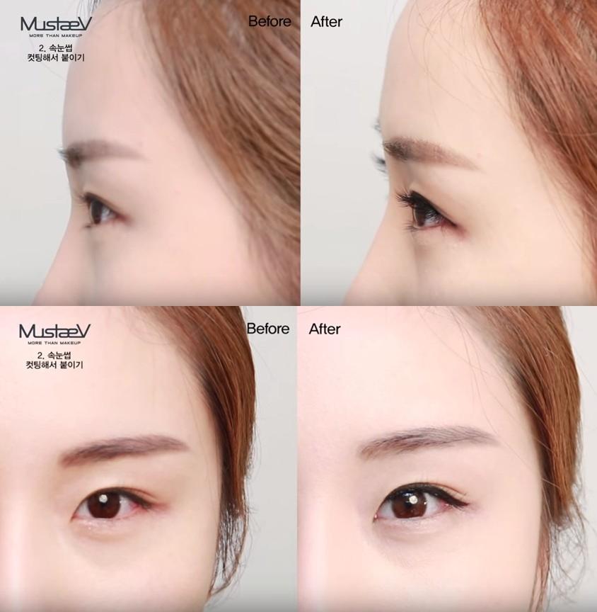 完成之後,比較有根根分明的感覺!當然黏在不同的位置,會讓眼型看起來有截然不同的效果。