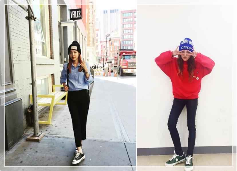 第二個直擊的對象是2NE1 SANDARA★時髦指數:85% 她的休閒風格應該是很多女生都能模仿的!戴上LOGO設計的針織帽頗有潮人風範!