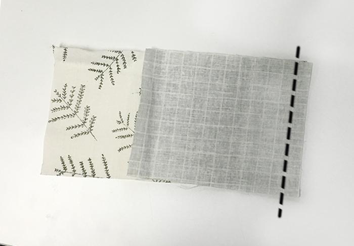 11.兩塊布料的正面貼在一起,然後縫上一邊