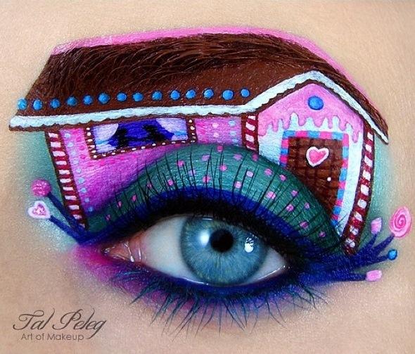# 童話 <糖果屋> 說起<糖果屋>就會聯想起裡面的麵包屋. 用眉毛畫出屋頂很令人印象深刻