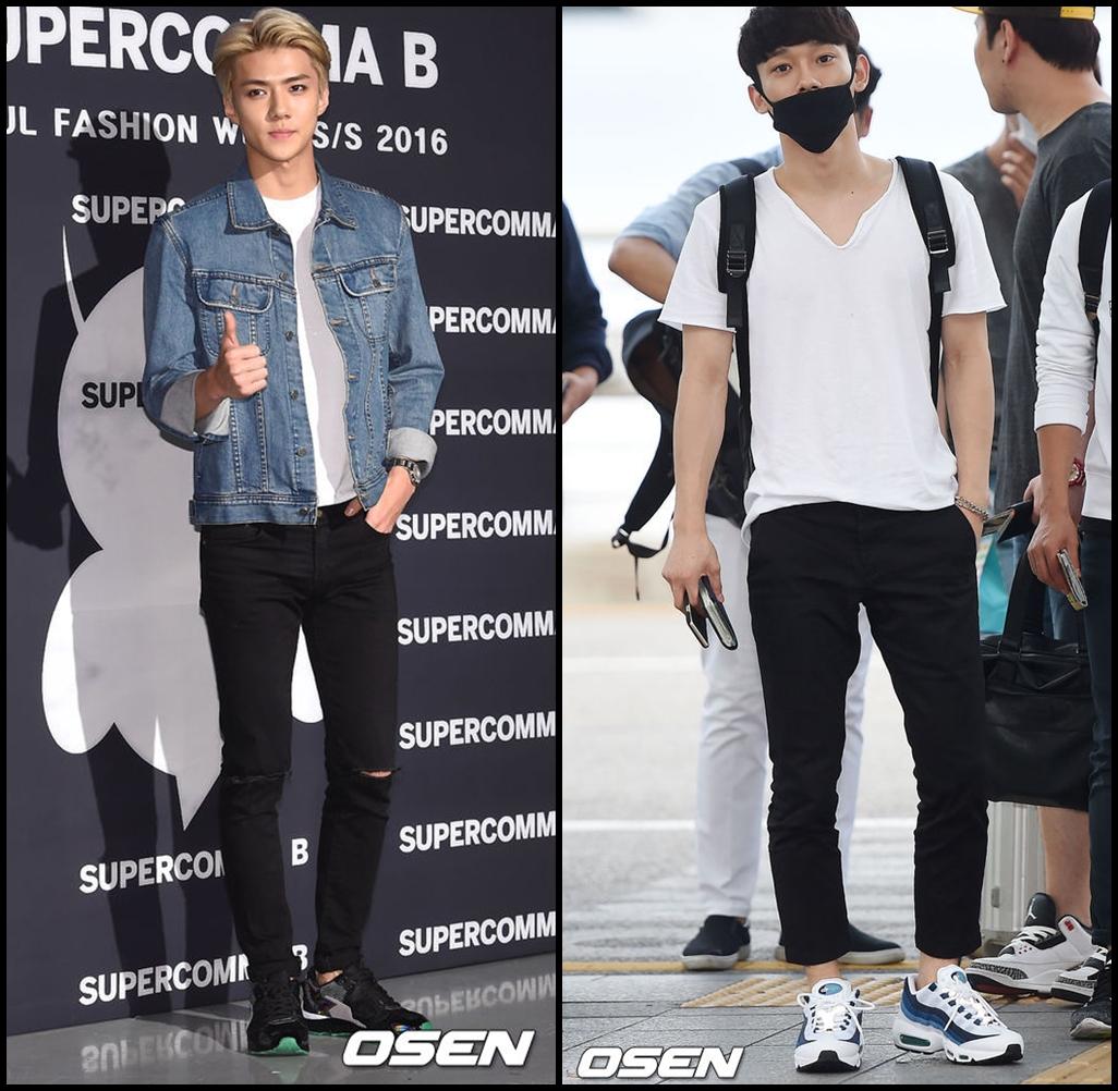除了女團外,EXO 也常常穿黑褲! 孩子們的腿都要比我這個姨母還要細了(´゚д゚`)