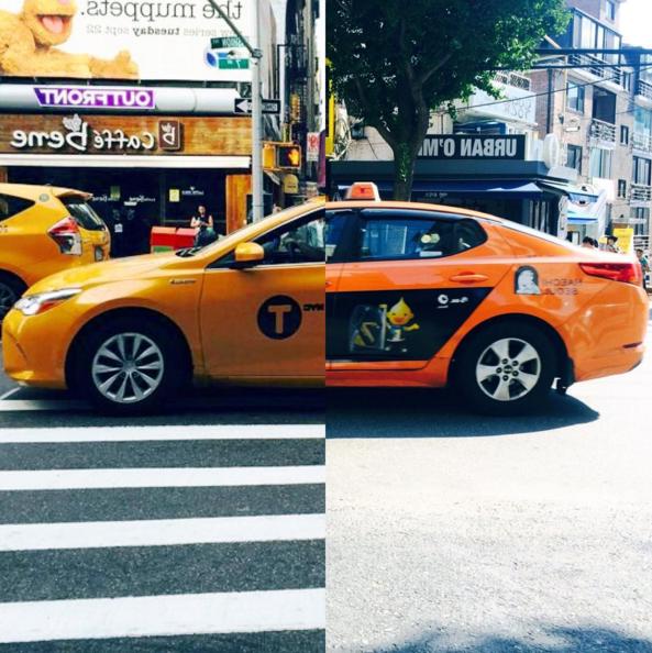各自在不同地方的計程車