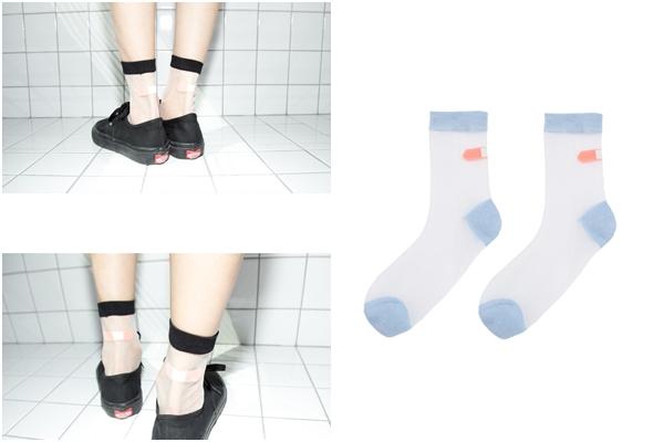 最後要介紹的是透明感的襪子,除了可以透視裸肌,上面的圖案也有不少設計創意,適合搞怪的女孩兒!