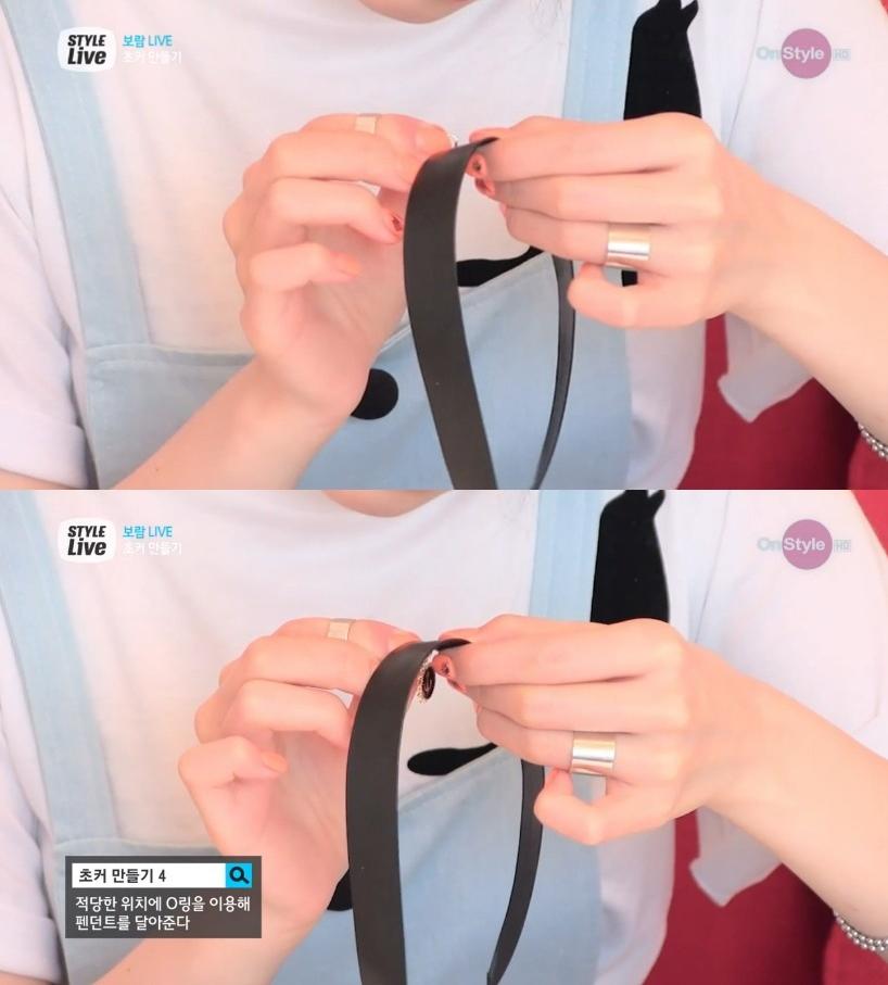 戴上比對一下緞帶的中心點在哪裡,將吊飾的圓圈圈穿過緞帶的下緣,這樣就完成囉!天啊,還是超簡單~