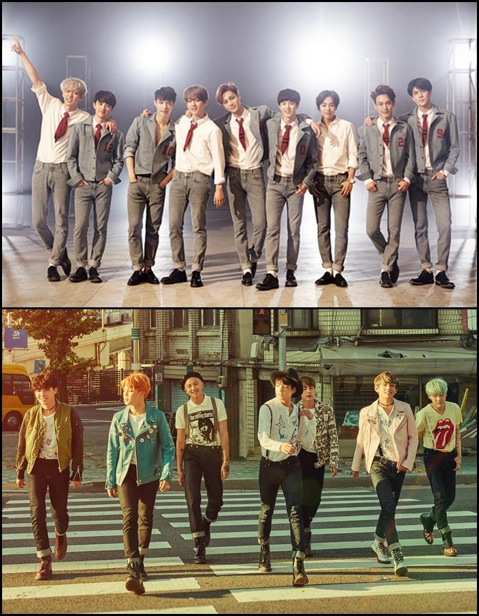★ 組合二 :: EXO + BTS ★  基本上又是一組分開就很吵的組合,如果真的共用休息室的話,應該會超越屋頂掀起來的程度吧XD