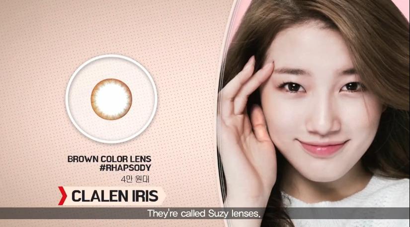 3.秀智同款隱眼 也是秀智代言的一款棕色隱眼,去過韓國的應該都知道,很多眼鏡店門口都會擺著秀智帶著這款隱眼的廣告招牌。