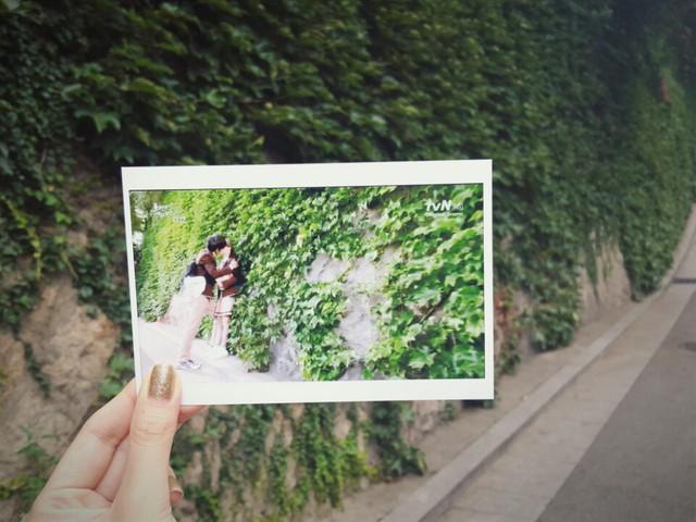 在爬滿爬牆虎的牆前,回想高中時期的鄭有美和李陣郁在這兒甜蜜的kiss... (話說現在小編想著都有一點小害羞的呢✿◡‿◡)