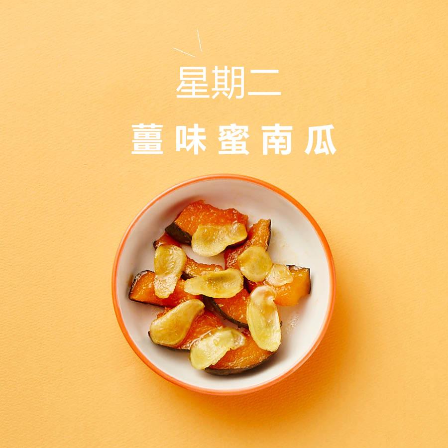 準備材料 : 南瓜1/4, 薑1塊, 水2大湯匙, 蜂蜜2大湯匙