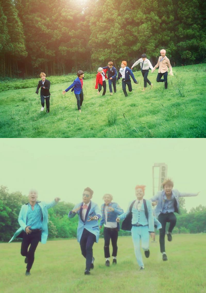 此外,還有防彈的宣傳照跟BIGBANG《Sober》MV的概念很像
