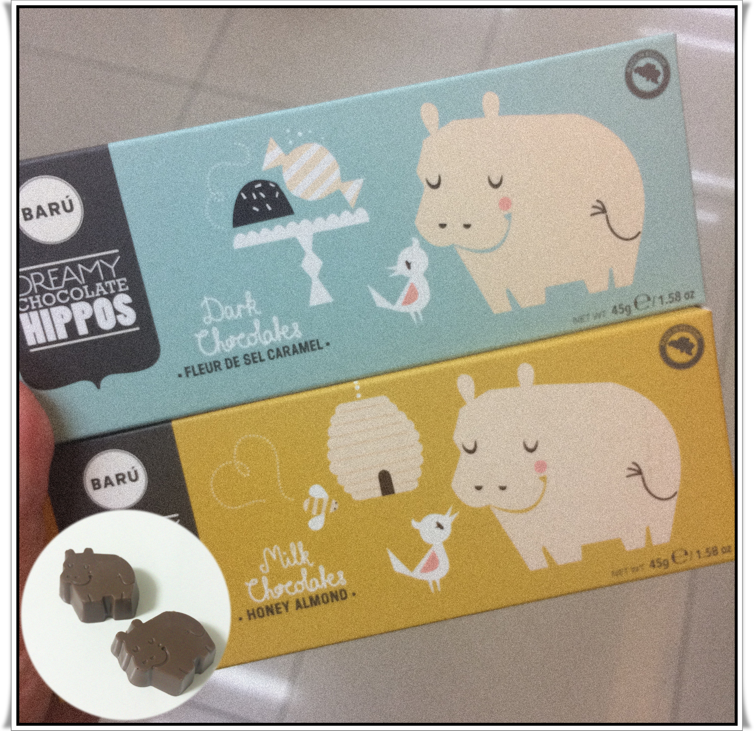 /06/BARU河馬巧克力(蜂蜜杏仁果&焦糖口味)  可以買指數:★★☆ 其實是為了可愛的河馬造型買的…就是…蠻一般的巧克力!對不愛甜食的人來說嘗鮮一顆即可~