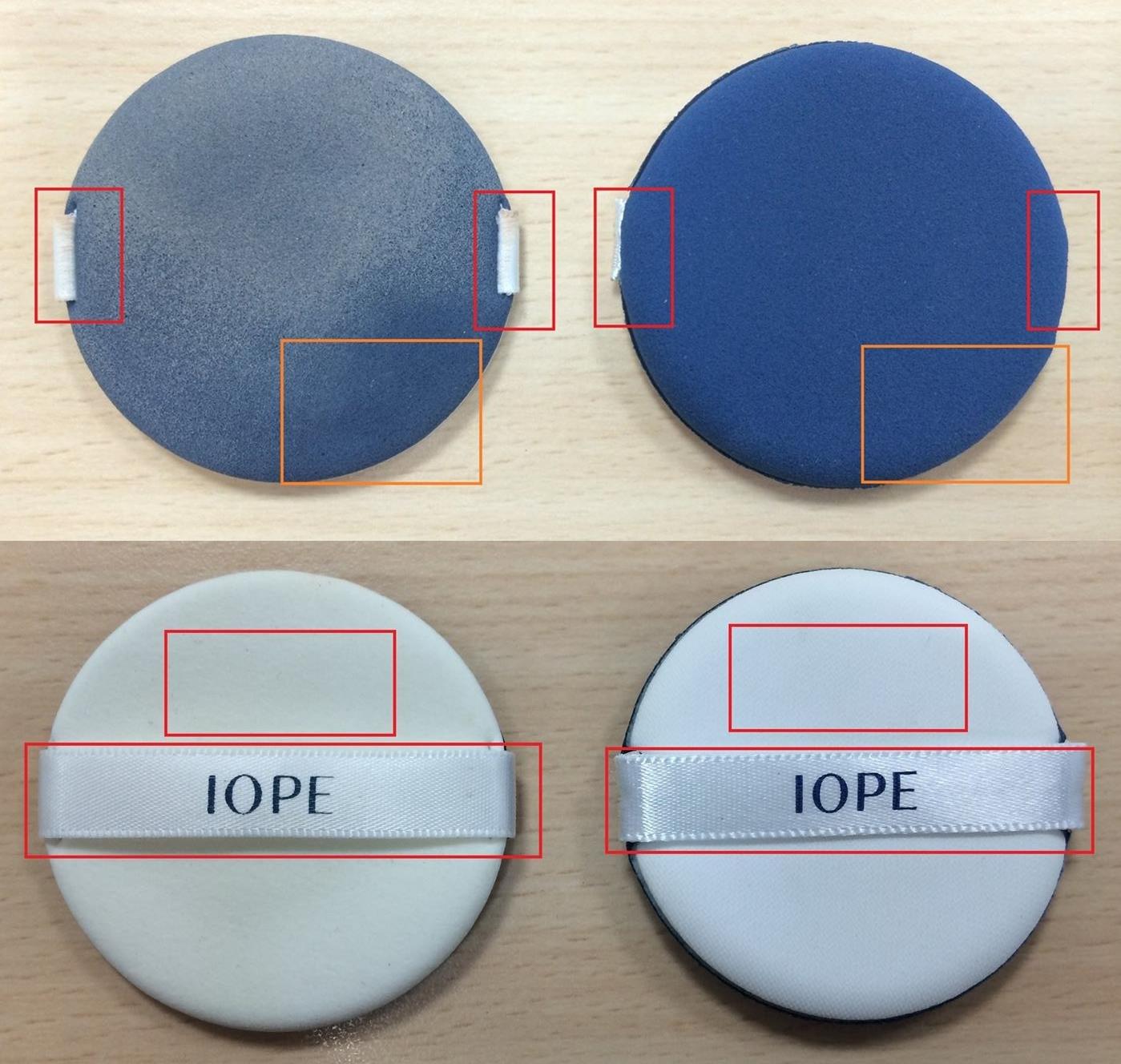 另外舒芙蕾氣墊粉餅的重點就在於氣墊粉撲,左邊仿品在細節設計上有差異,連使用起來的觸感也有很明確的落差感。