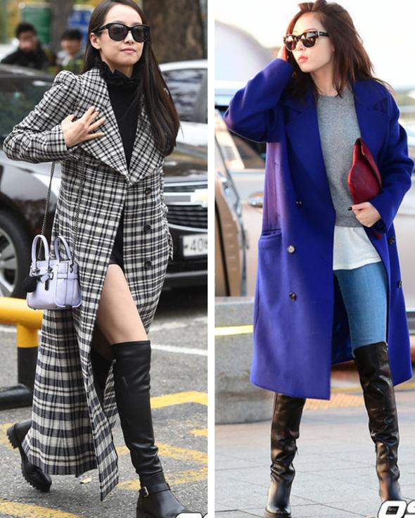 3. 長款LOOK 長款大衣配過膝長靴絕對是個很不錯的選擇,泫雅的紅色手拿包和宋茜的鏈條挎包,都是打破大衣沉悶和正式感的時髦小細節!
