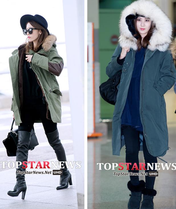軍工棉外套 這種材質的棉外套每年冬天在韓國都很流行,看少時的潤娥和徐賢有多愛就知道了啊!重點是帽子上的毛毛設計總能無形中給人很溫暖的感覺。不管是搭配過膝長靴,還是雪地靴,它都能完美消化。