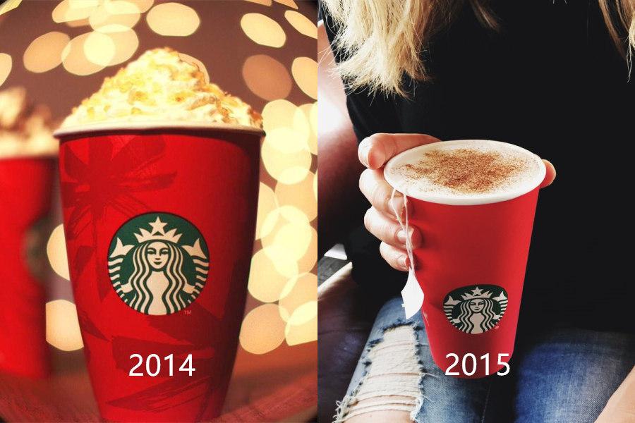 跟去年的對照就能發現 今年紅杯子變得非常空 除了Logo以外,完全沒有任何有關聖誕節的圖樣