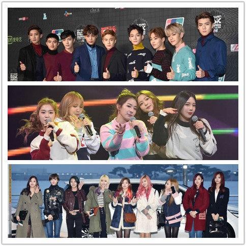 預計11點就要結束的典禮 頒到快12點還沒完 當頒到最大獎「年度歌手」時台下除了TWICE、Red Velvet、EXO和Monsta X 場內的藝人幾乎因為行程先行離開