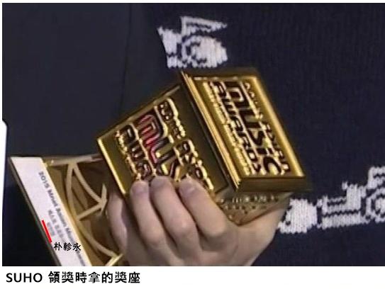 眼尖的網友發現「SUHO 在領獎的時候,手上拿的獎盃寫著 JYP(朴軫永) 」。