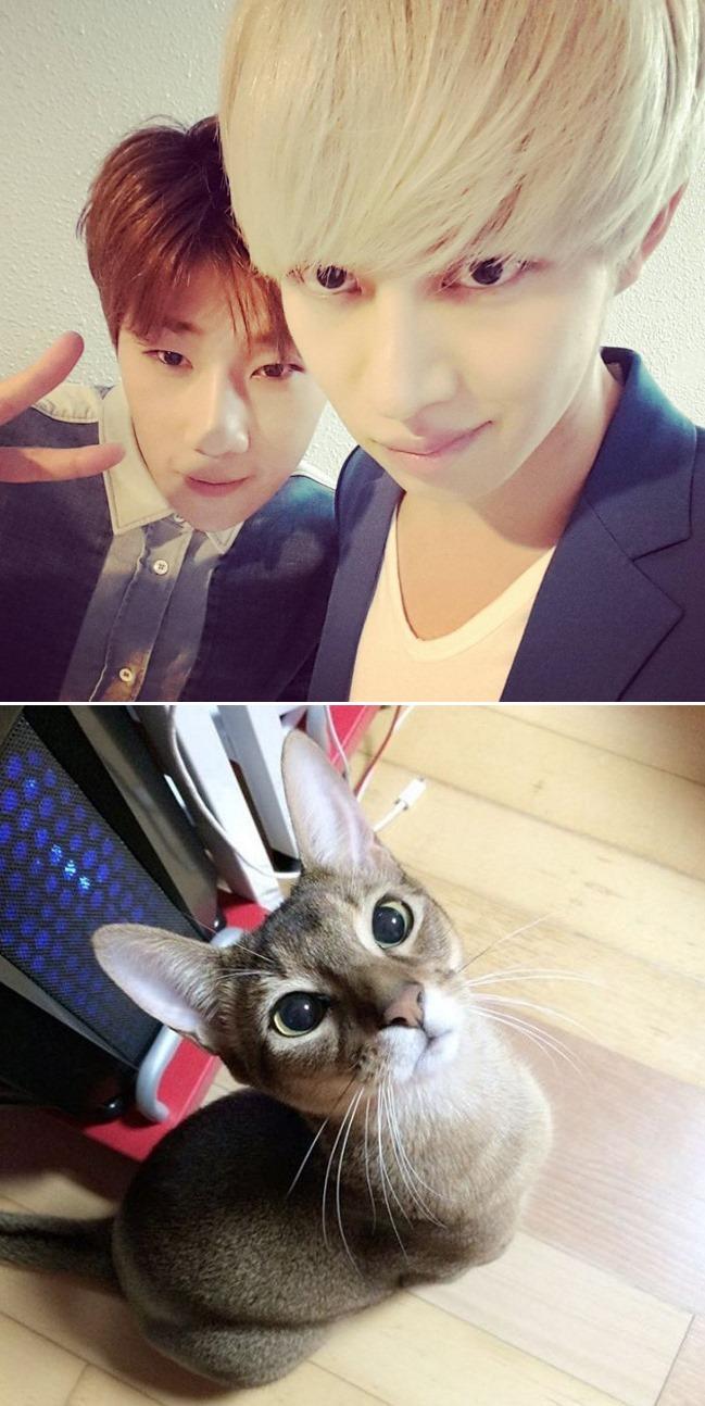 Super Junior 希澈 兩隻貓咪臉男偶像合照♥話說小編覺得希澈和Cherry長得越來越像XD