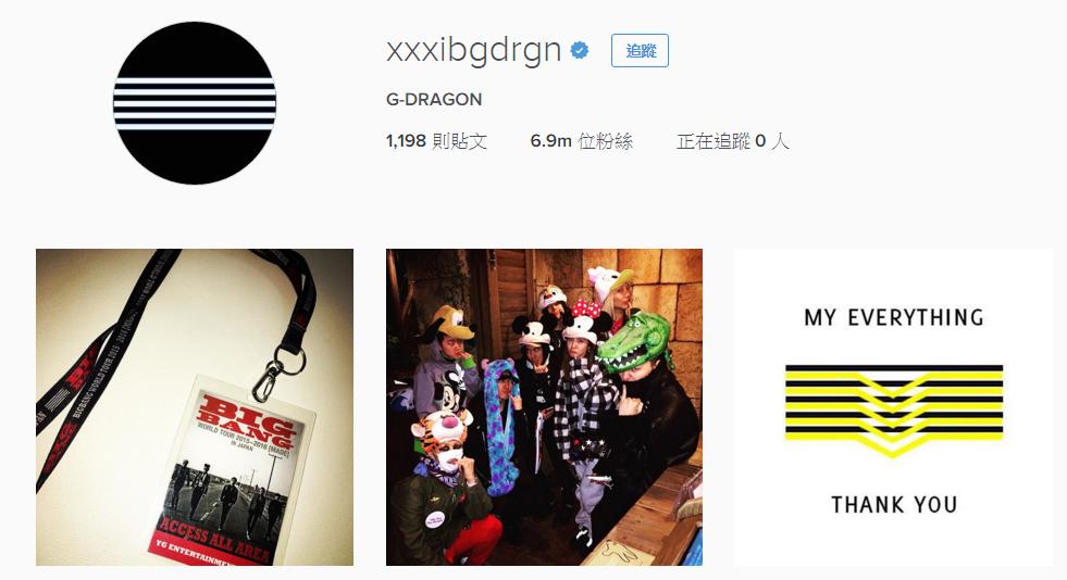 鏘鏘~首先就是擁有將近700萬粉絲的BIGBANG GD。Instagram說,GD光今年就增加了300萬粉絲。(結果小編寫完隔天,GD就破700萬了)