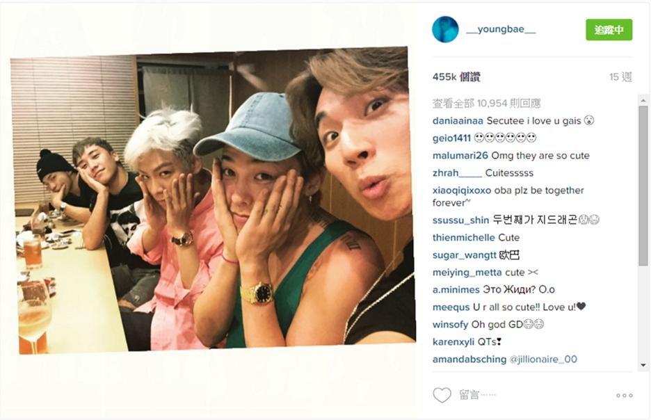 TOP 6. BIGBANG太陽上傳 - 45萬5900讚 BIGBANG全體私下聚餐照