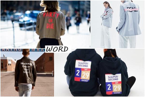 目前最熱門的後背設計外套其中一種是「文字」風格,通常都是充滿反叛性格的文字,以及令人驚豔的文字與幾何排版!