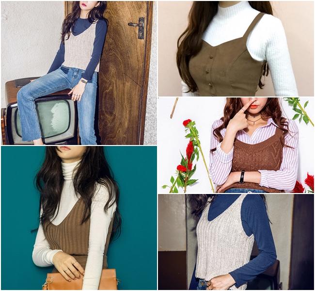 剛好近期從韓國一路熱到全亞洲的「背心外搭法」就是小胸女才能駕馭的穿搭!撞色的風格,與材質對比的效果,反而成修飾身材,同時也可以看出穿搭功力~