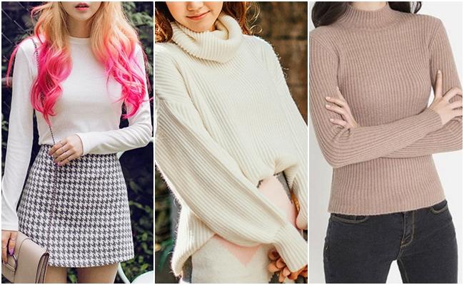 其實針織衫、高領衫、甚至是緊身薄Tee,都很適合小胸女生穿!特別是淺色調的單品,為什麼呢?因為胸部較大的女生穿起來會有胸口比較厚的感覺,反而會顯胖。