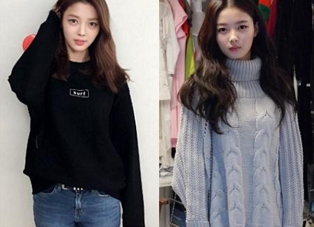 而且韓國網友們從幾年前開始就說她像成熟版的金裕貞(左:嚴賢璟 右:金裕貞)金裕貞還小她13歲XD