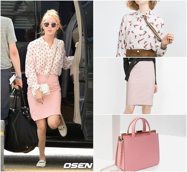 如果想要像徐玄一樣做出粉嫩少女的風格造型,可以利用有著獨特印花的襯衫搭配鉛筆裙,不過重點還有一個可愛的粉色包包不能少阿
