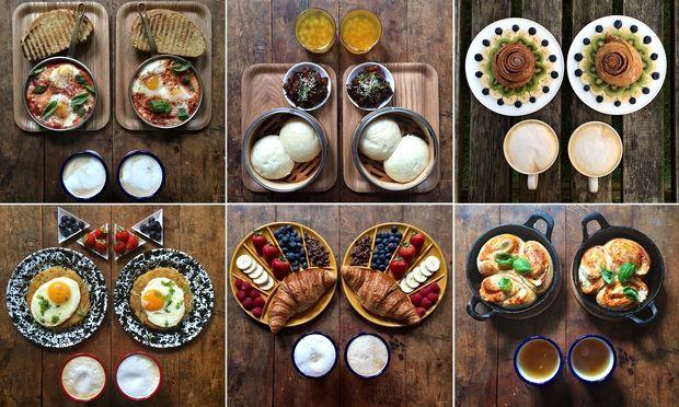 有個倫敦小哥叫Michael Zee,他的愛好就是給自己和男盆友(嗯沒錯,是男盆友)做早餐,而且是標準對稱型的早餐!!