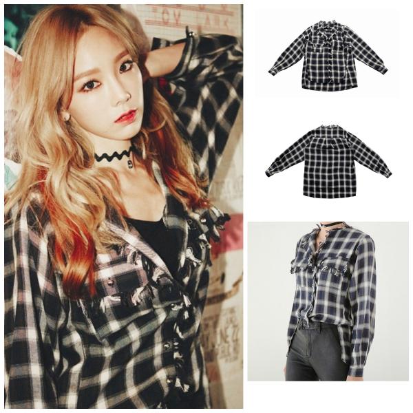 《I》的MV中所穿的格紋上衣來自太妍很常穿的品牌celebee,胸口與接縫處流蘇的設計,是這件襯衫特別的地方!