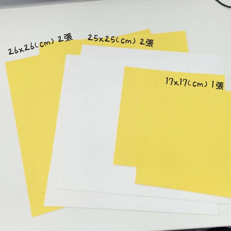 準備物:正方形厚彩紙