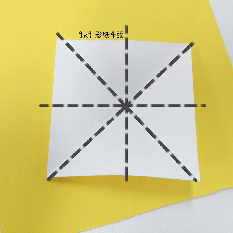 9. 準備剩下的4張9x9(cm) 的彩紙 沿虛線折疊再展開!