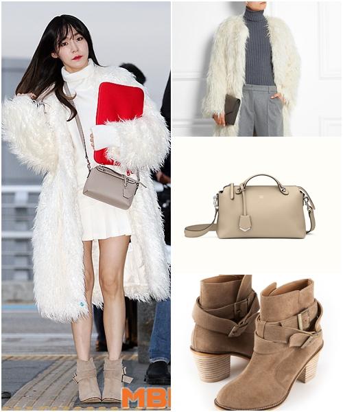 Tiffany出境時所穿的是DKNY的外套,FENDI的包款,與STILL GOT ME的踝靴。