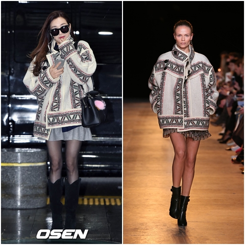 Tiffany身上OVERSIZE的外套來自Isabel Marant當季的主打外套,這款外套許多歐美名人也很愛喔!