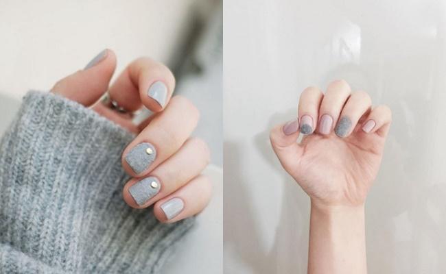 天鵝絨的質感就像是幫指甲穿上衣服一樣,非常適合冬天 如果不想每隻手指頭都毛毛的,可以像這樣只擦兩隻作點綴..★