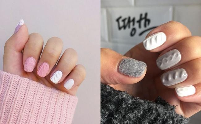 也可以搭配針織指甲,就是一種指甲穿毛衣的感覺