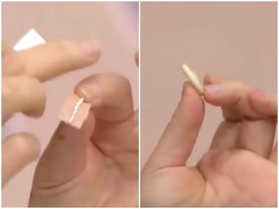 首先,需要準備兩樣東西:(1)在透氣膠帶上貼上一排小米,(2)準備橡膠指套