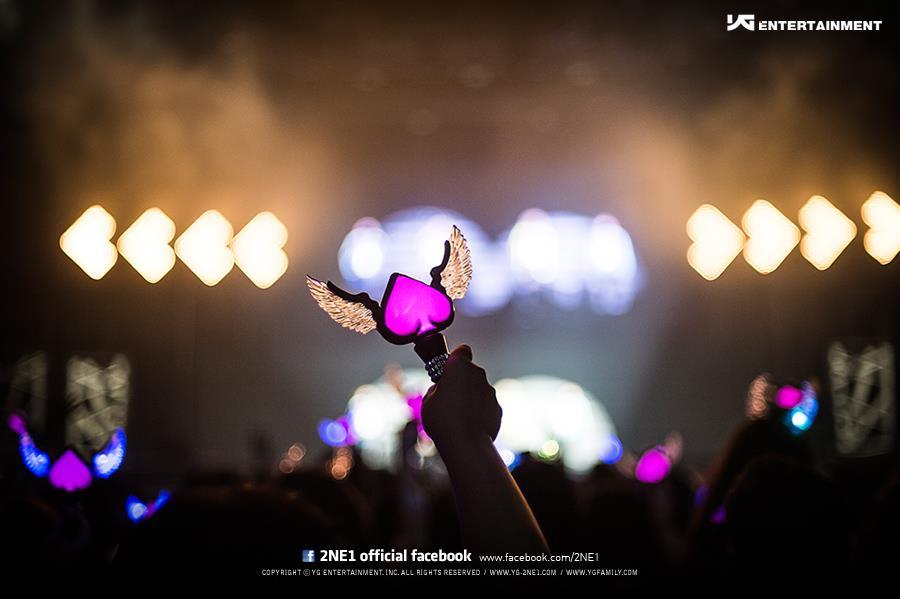 只有2NE1的日本版手燈中間是Hot Pink.....