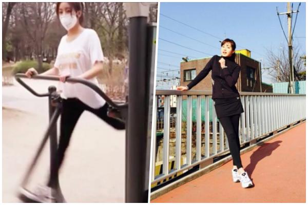 因為健美身材而備受喜愛的姜素拉,被譽為擁有健康完美身材的女星之一!每天堅持慢跑的她,偶爾也會到公園透過儀器來運動,就跟我們一樣呢~