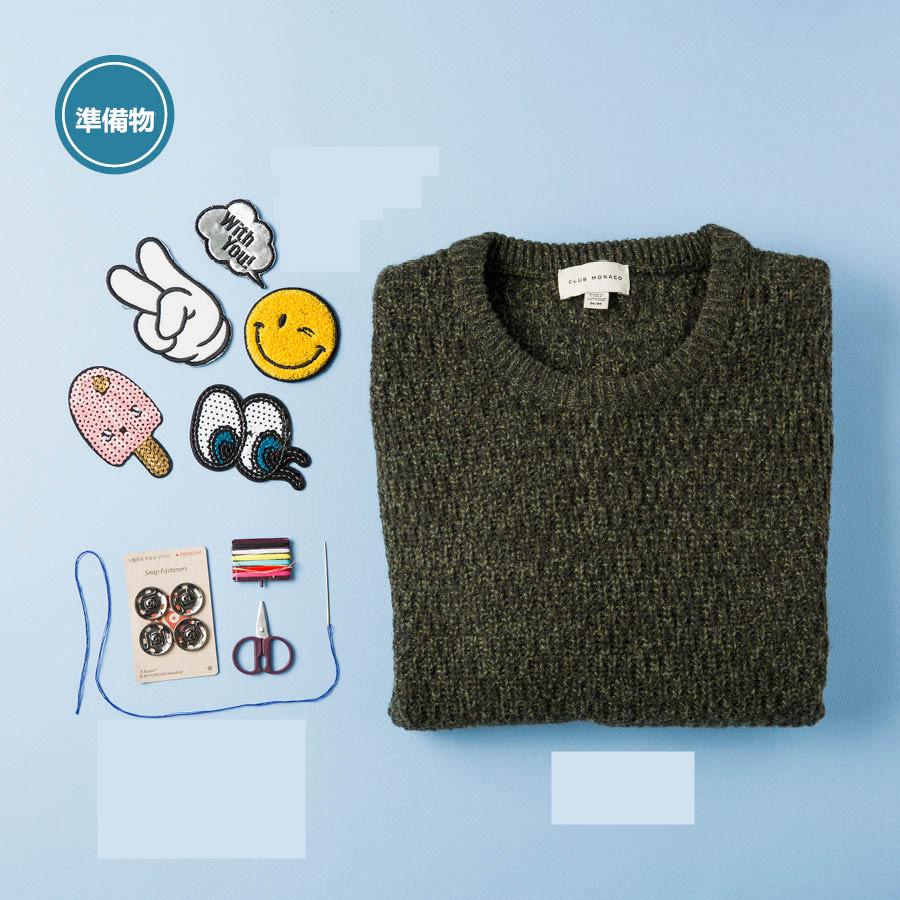 準備物:毛衣、徽章、針線、剪刀,還有最重要的按扣~~