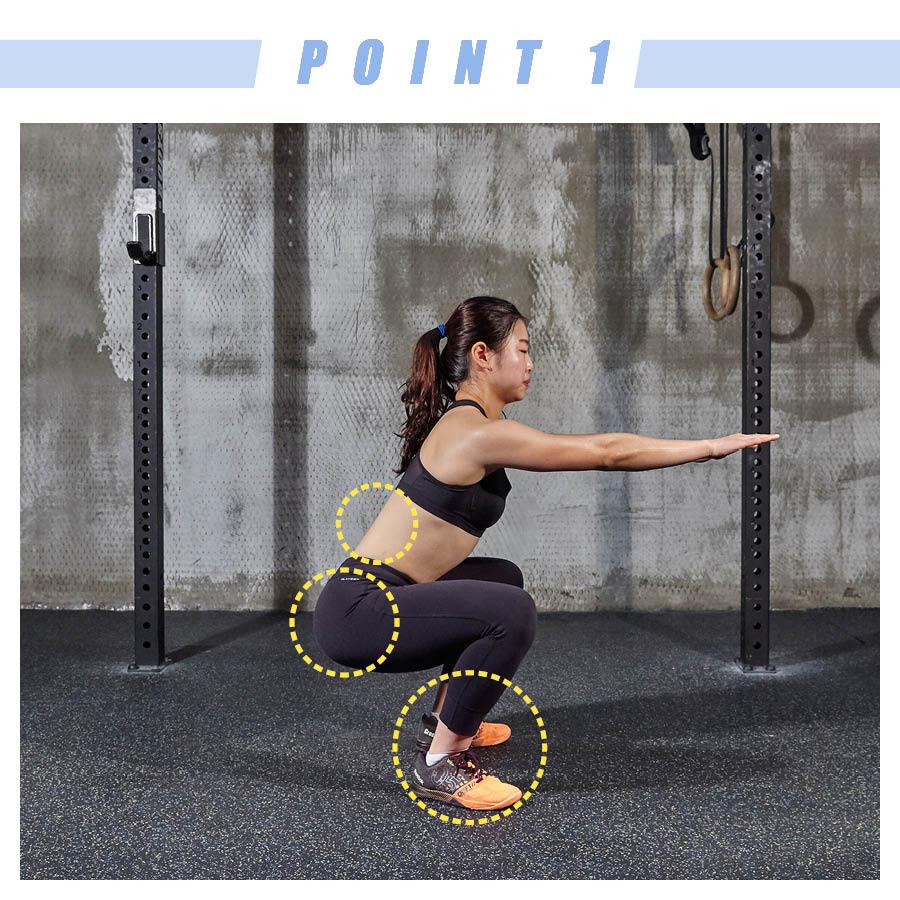 雙腿劈開的距離剛好是肩膀的寬度,蹲著的時候膝蓋處呈直角,腰也一定要挺直,不能彎。