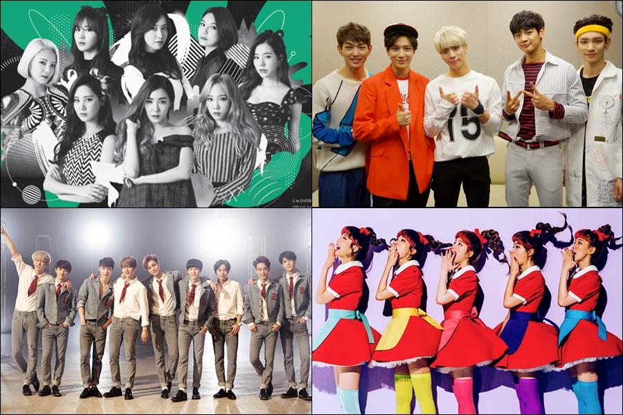 ♥ 三家電視台都參加的「全勤」團體  SM 娛樂的少女時代、SHINee、EXO 和 Red Velvet 三家電視台都會參加。
