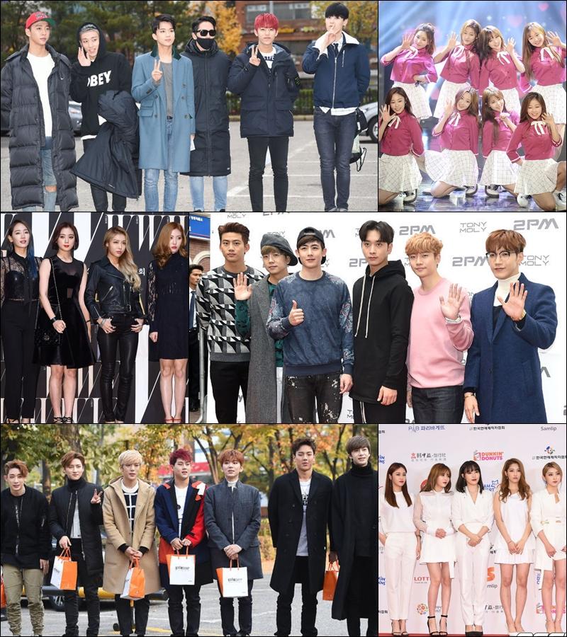 ♥ 參加「SBS 歌謠大戰」和「MBC 歌謠大祭典」  B.A.P、Lovelyz、Wonder Girls、MONSTA X、2PM 和 4Minute 會參加兩個電視台的年末節目。