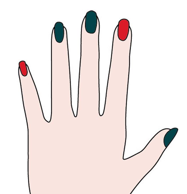 食指和小指塗上紅色,剩下的指頭塗上綠色 當然美妞們也可以依照自己的喜好改變顏色分配啦~