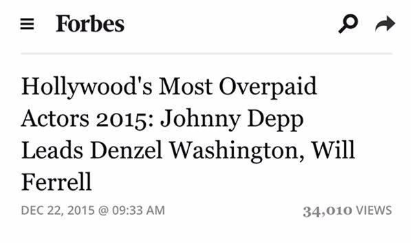 美國商業雜誌《富比士》評選了今年(2015)「性價比最低的好萊塢演員」... 根據演員的片酬和影片票房計算出來的排位。