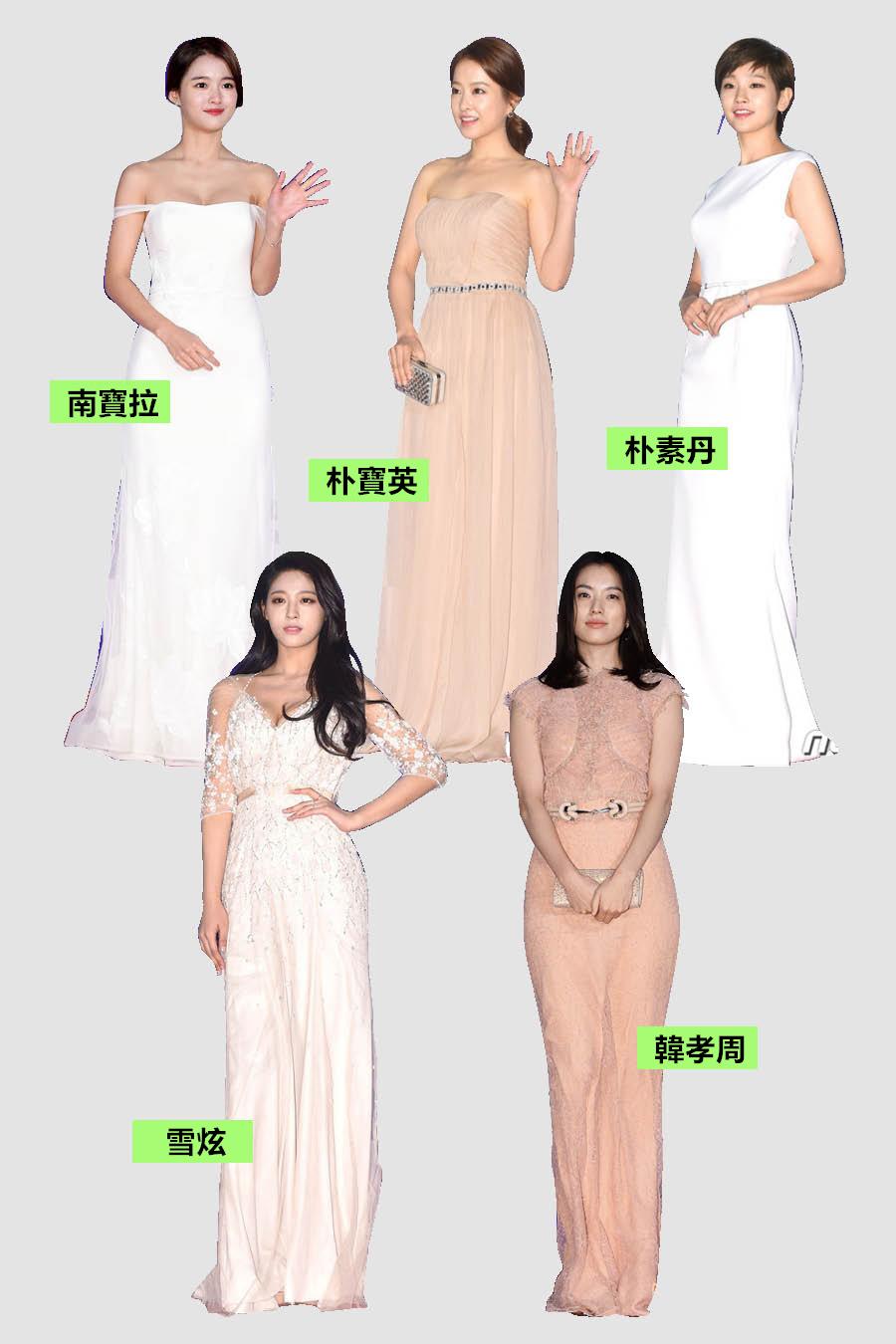 五位女演員當中,雪炫的仙女裝可以說是今年讓人印象最深刻的禮服了吧~