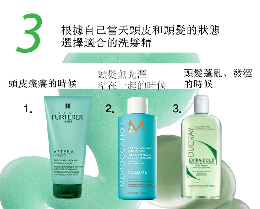 「對症下藥」,根據自己頭皮和頭髮的狀態,家裡要準備2~3種不同功效的洗髮精,像是去角質、鎮定頭皮和再生等不同功效的洗髮精。